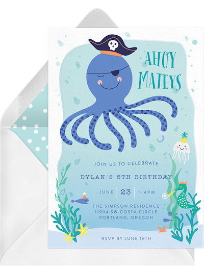 Pirate theme party: Octopus pirate invitation