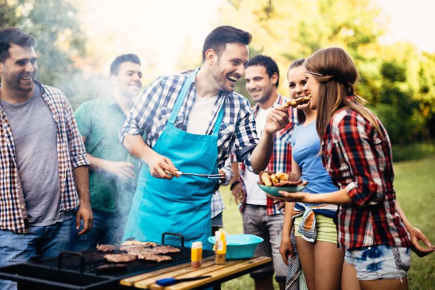 People enjoying barbecue party