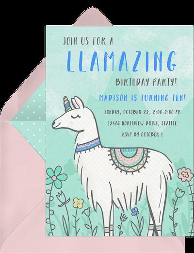 Llama unicorn invitation