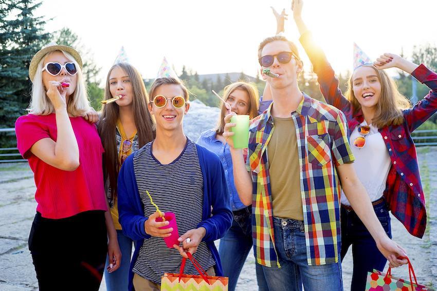 teenagers having party activities