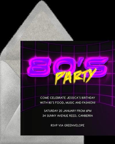 80s theme party: Neon lighting invitation