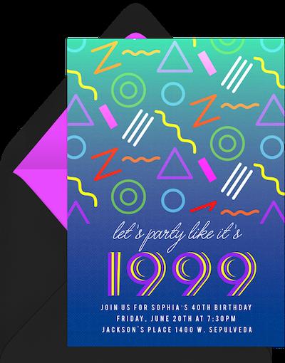 90s theme party invitation