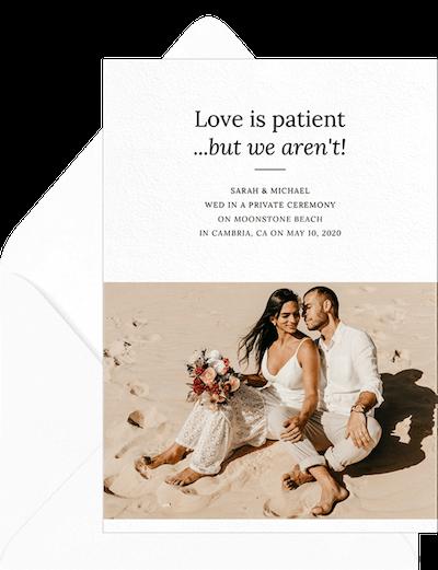 Elopement ideas: Eager love announcement invitation