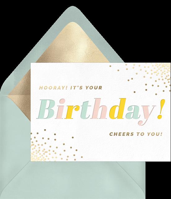 birthday gifts during quarantine: Hooray Birthday Card by Greenvelope