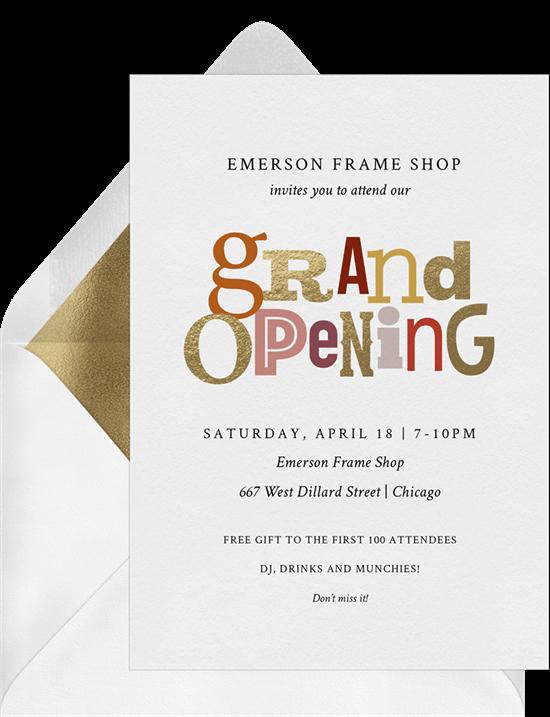 grand opening invitation: Grand Typeset Invitation by Greenvelope