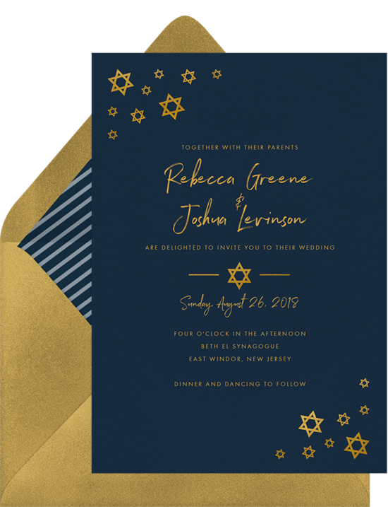 Jewish wedding invitation wording: Simply Stars Invitation from Greenvelope