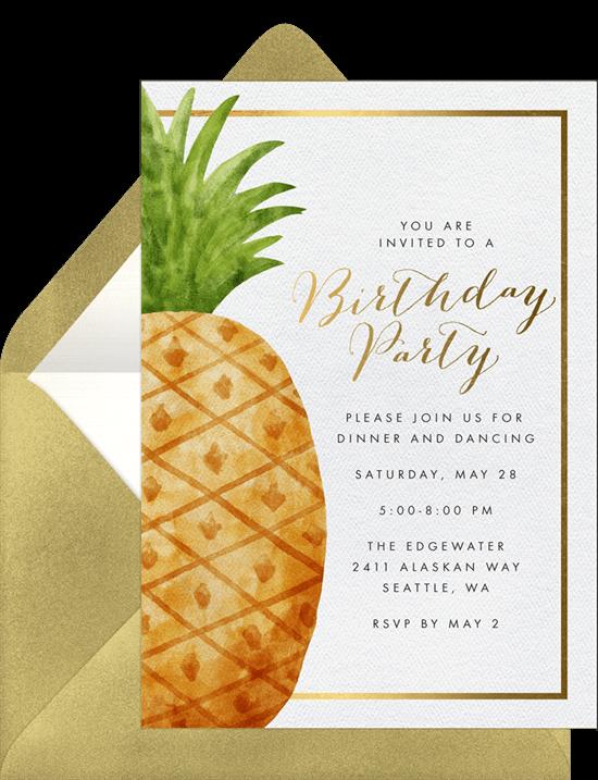 Hawaiian theme party: Giant Pineapple design invitation