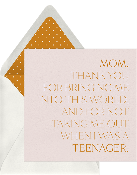 Mother's Day card ideas: Thanks Mom Card