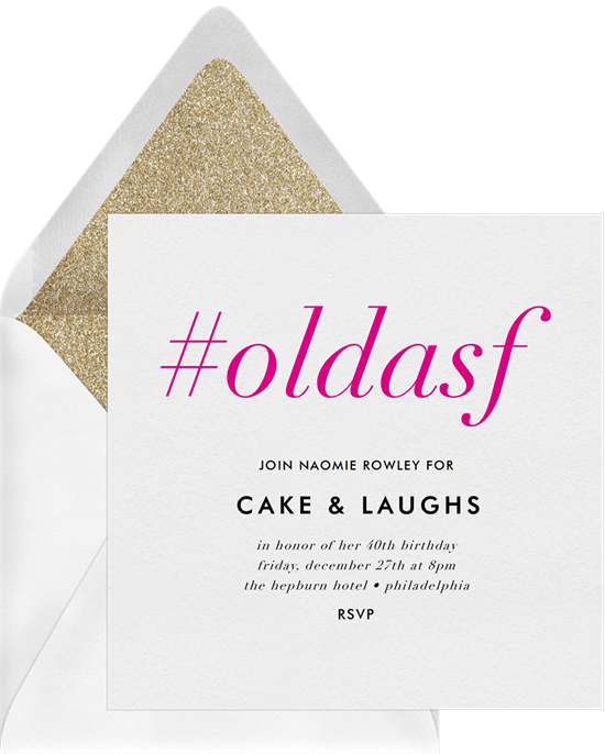 80th birthday invitations: Hashtag Old Invitation