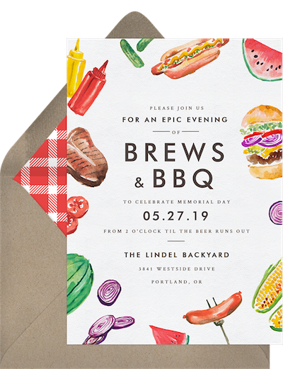 Memorial Day Brews & BBQ themed invitation