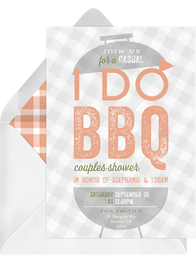 BBQ themed engagement card invitation