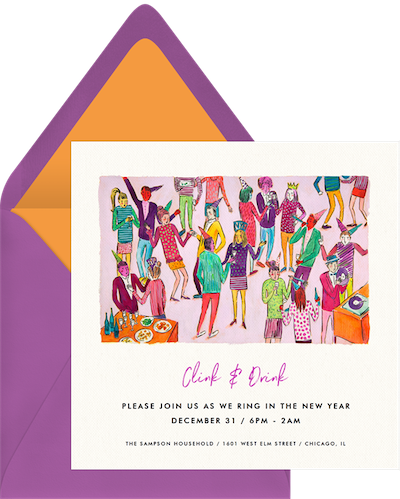 New Years Eve food: Clink & Drink invitation