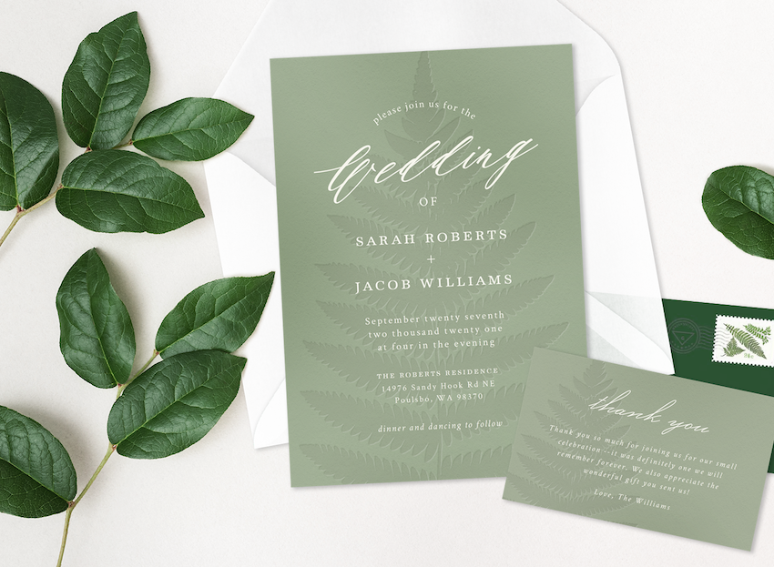 Backyard wedding: Mint green leaves wedding invitation