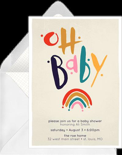 Baby shower ideas for boys: Baby rainbow invitation