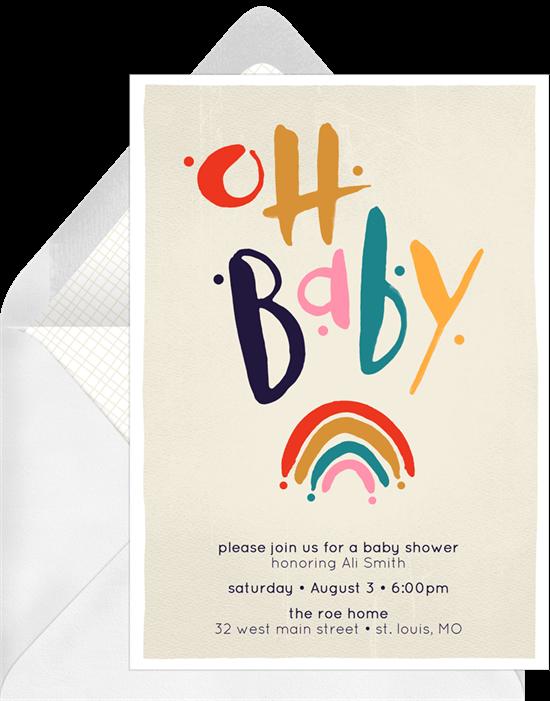baby shower themes: Baby Rainbow Invitation by Greenvelope