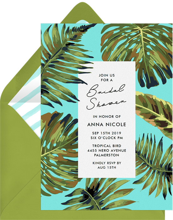 bridal shower gifts: Palm Leaves Invitation by Greenvelope