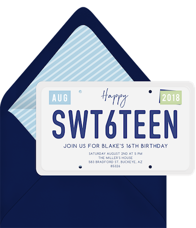 sweet 16 ideas: happy swt6teen invitation