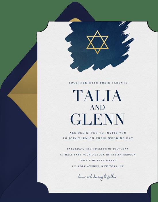 Jewish wedding invitation wording: Watercolor Brushstroke Invitation from Greenvelope