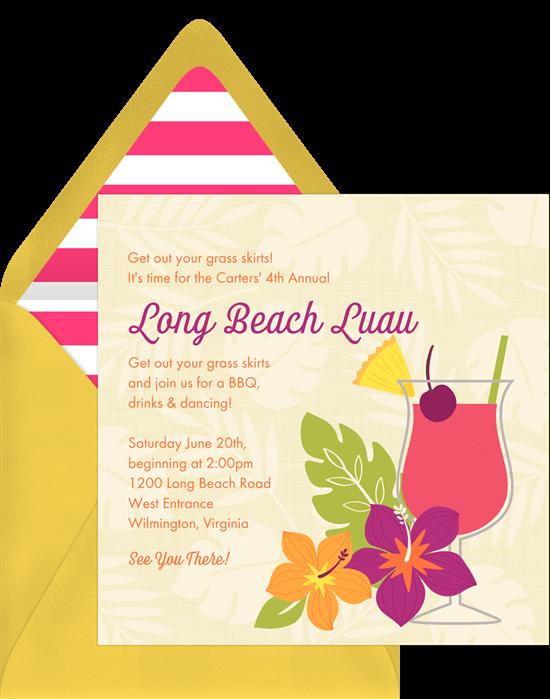 Leafy Luau Invitation
