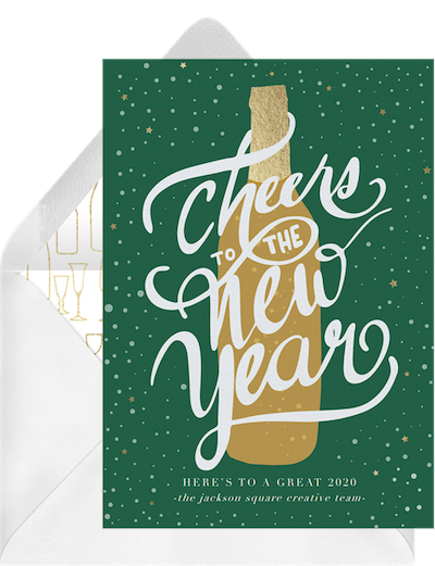 New Years Eve food: Cheers to the New Year Invitation
