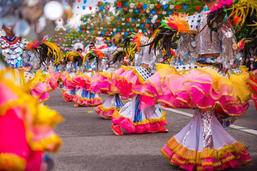 Colorful smiling mask of masskara festival