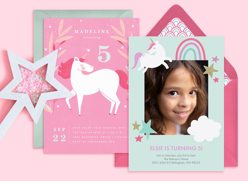 Unicorn party ideas: Unicorn and star invitation