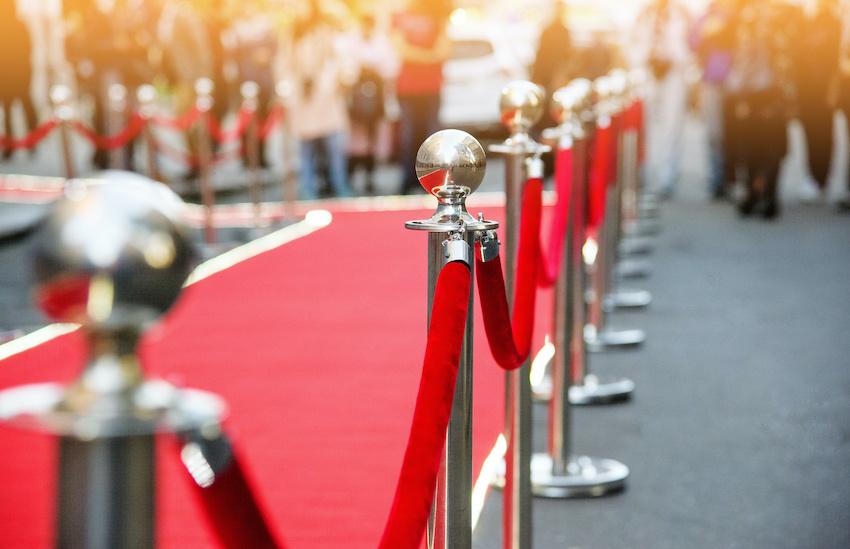 Red carpet event: Red carpet and barrier setup