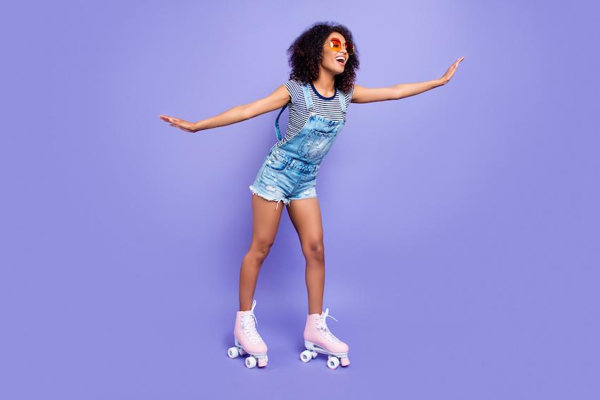 Lady wearing roller skates