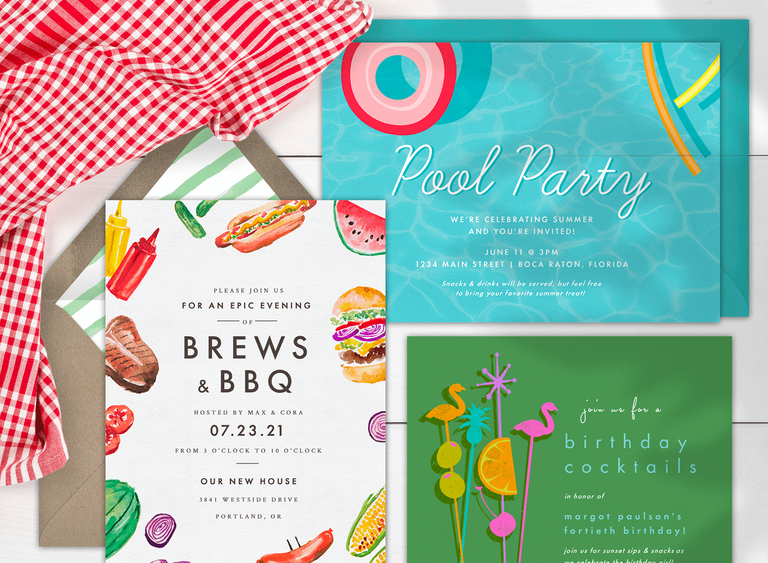 Three summertime party invitations with a checkered cloth beside them