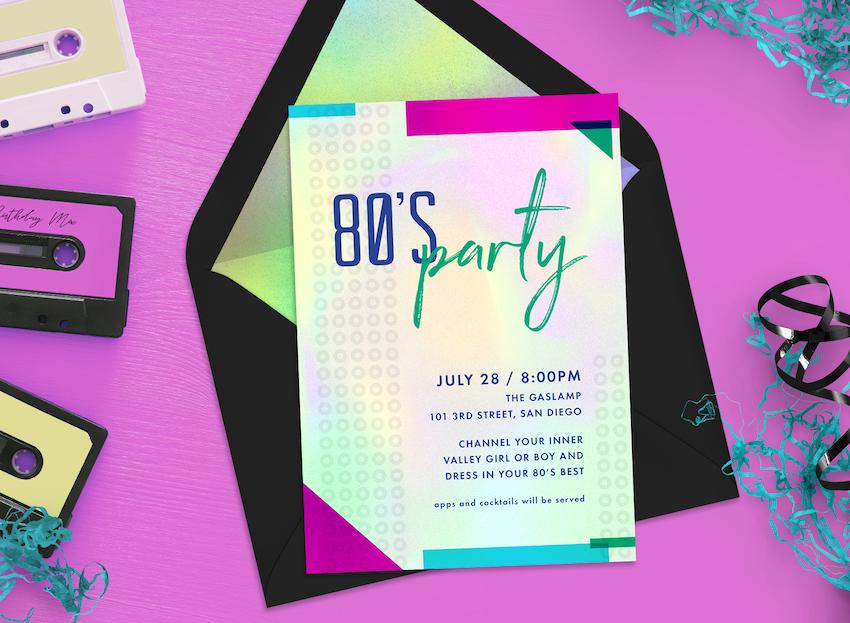 80s theme party invitation