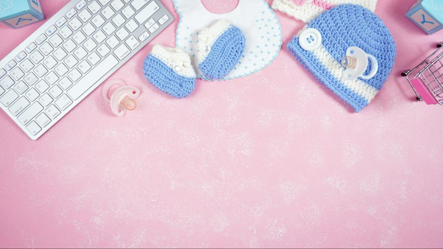 virtual baby shower ideas: Keyboard and baby accessories