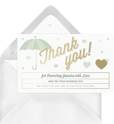 Baby shower thank you card wording: Raining hearts thank you invitation