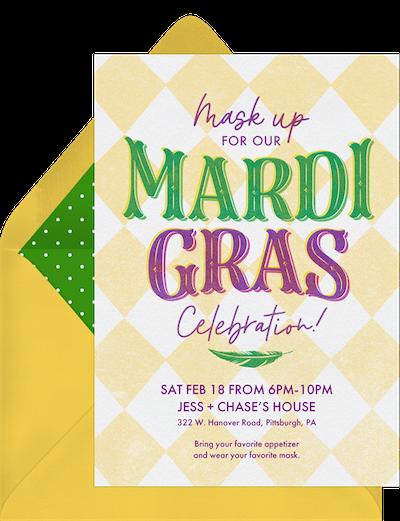 Mardi Gras party ideas: Offset Mardi Gras invitation