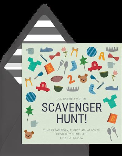 Virtual game night: Scavenger hunt invitation