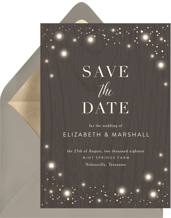 save the date postcards: Rustic Twinkle Save the Date by Greenvelope