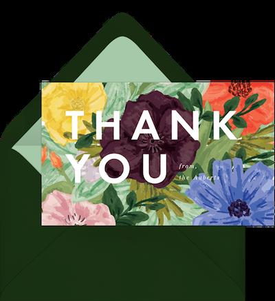 thank you card flower design