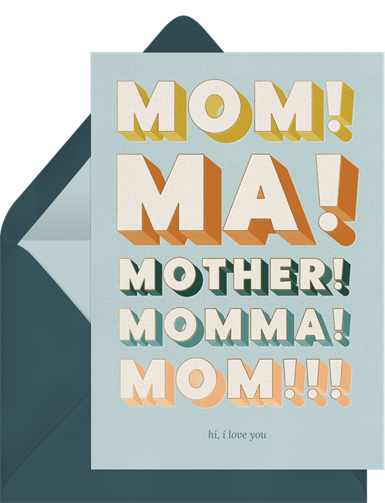 Mother's Day card ideas: Mom! Card