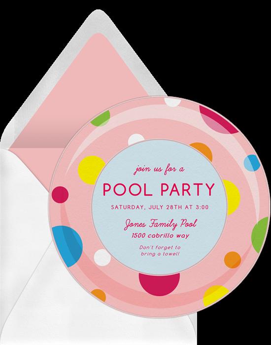 summertime party invitations: Polka Dot Inner Tube Invitation by Greenvelope