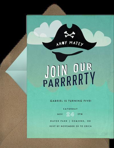 Ahoy matey invitation
