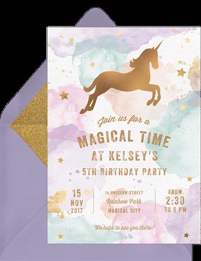 Unicorn party ideas: Whimsical unicorn invitation