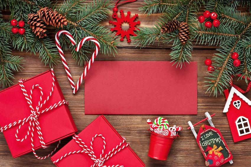 Christmas gift card and box of gifts
