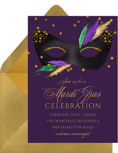 Mardi Gras decorations: Mardi Gras mask invitation