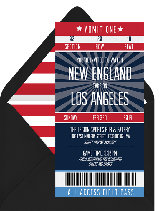 Super Bowl Party Games: Ticket style invite