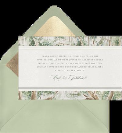 Sage Wedding Thank You Card Wording