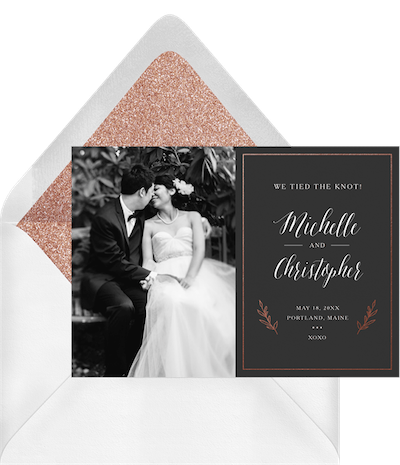 Simple Laurels photo announcements in grey invitation