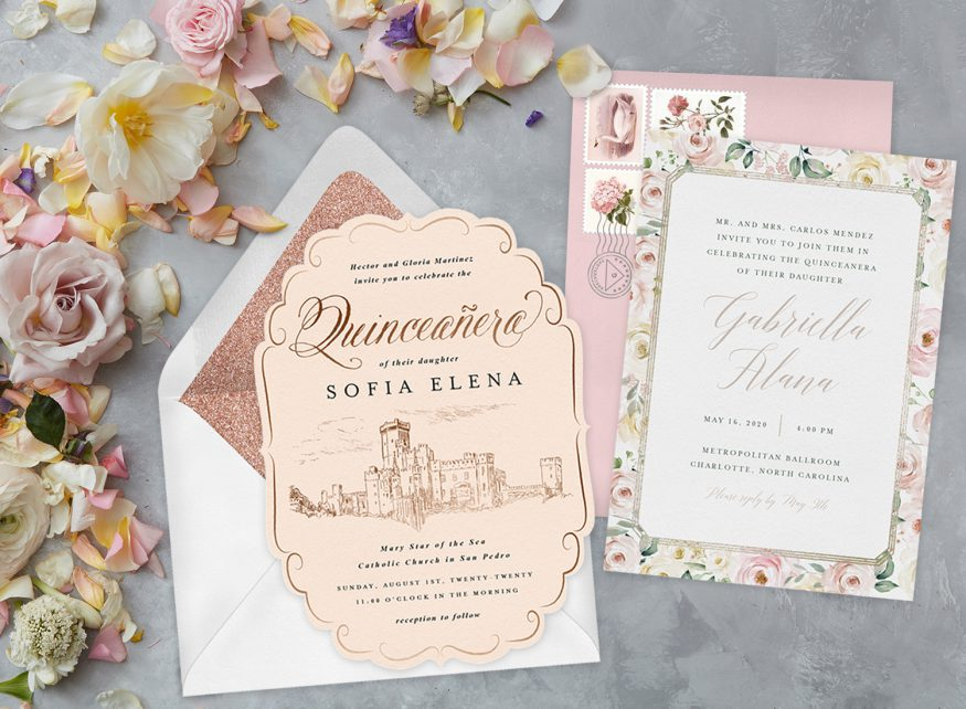 quinceanera party: Two invitations on a marble surface with flowers on the side