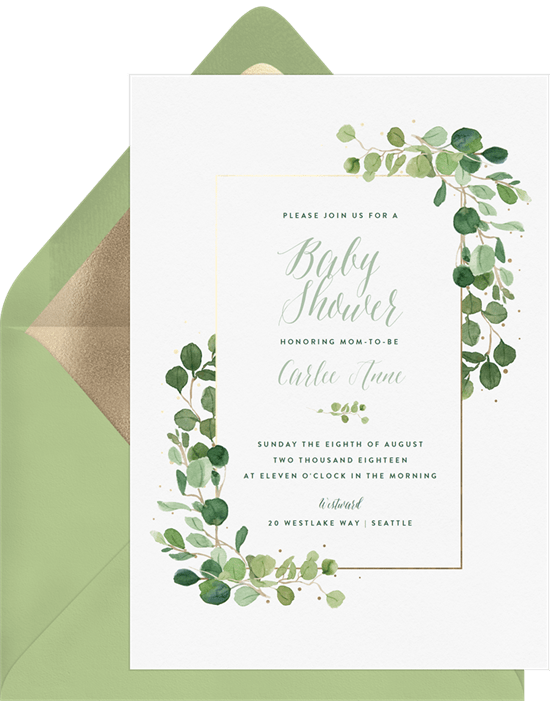 baby shower themes: Delicate Greenery Invitation by Greenvelope