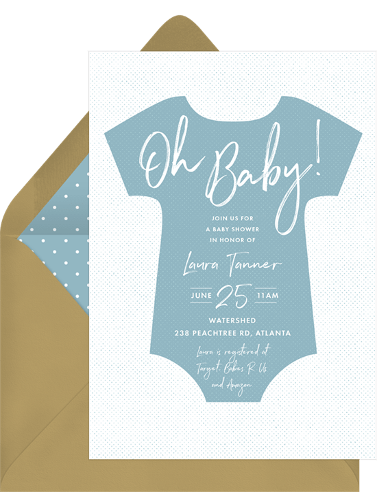 Bold Onesie Invitation by Greenvelope