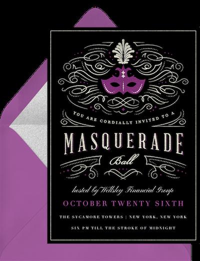 Masquerade party: Masquerade ball purple and black invitation