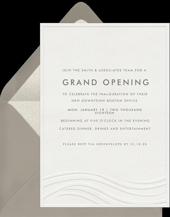 grand opening invitation: Letterpress Waves Invitation by Greenvelope